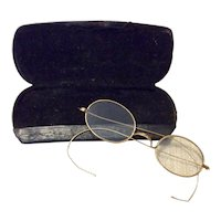 Rimmed Wire Eye Glasses With Leather Case Gold Filled