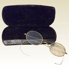 Vintage Gold Filled Rimmed Wire Eye Glasses With Leather Case