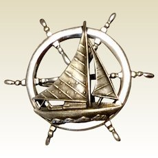 Vintage Sterling Silver Sail Boat Ships Wheel Brooch