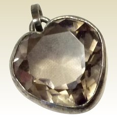 Vintage Sterling Silver Faceted Crystal Heart Pendant