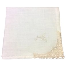 Vintage White Hankie With Light Pink Lace Corner