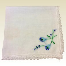 Vintage White Cotton Hankie With Blue  Green Flowers