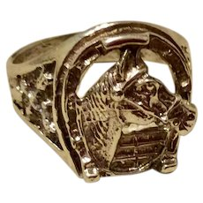 Vintage Sterling Silver Equestrian Horse Head Horseshoe Ring Size 10