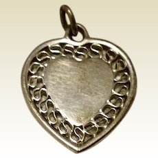 Vintage Sterling Silver Heart Charm Or Pendant