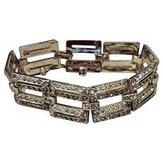 Art Deco Sparkling Wide Rhodium Plated Crystal Rhinestone Tank Bracelet