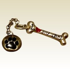 Vintage Sterling Silver Enameled I LOVE MY DOG Dog Bone & Paw Charm