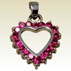 Vintage Sterling Silver Ruby Red Rhinestone Head Pendant