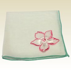 Vintage White Hankie With Applied Flower