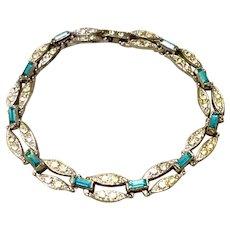 Vintage Silver Tone Metal Clear & Blue Topaz Rhinestone Flexible Link Bracelet