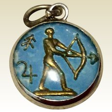 Vintage Sterling Silver Enameled Sagittarius, The Archer Double Sided Bubble Charm