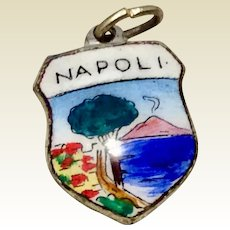 Vintage Silver Tone Metal Enameled Travel Shield Napoli Charm