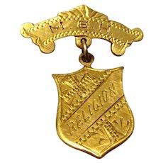 Vintage 10K Yellow Gold Religion Shield Brooch