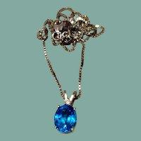 14K Gold Blue Topaz & Diamond Pendant Necklace