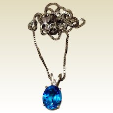 Vintage 14K White Gold Blue Topaz & Diamond Pendant Necklace