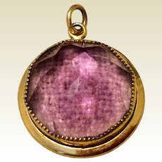Vintage 12K Gold Filled Amethyst Glass Faceted Pendant