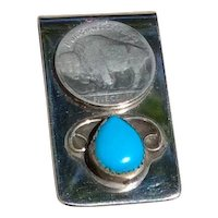 Sterling Buffalo Nickel Turquoise Money Clip