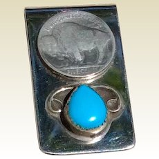 Vintage Sterling Silver Buffalo Nickel Turquoise Stone Money Clip