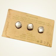 Vintage Swank Gold Filled Collar Studs - Set Of Three On Original Card