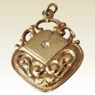 Vintage Gold Filled Repousse Watch Fob With Paste Stone