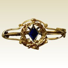 Victorian Gold Filled Sapphire Blue Stone Brooch