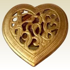 Vintage Gold Tone Metal Heart Shaped Button Cover
