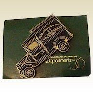Vintage Department 56 Black Enamel Advertising Lapel Pin On Original Card