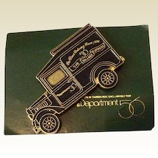 Vintage Department 56 Black Enamel Advertising Lapel Pin On Original Card