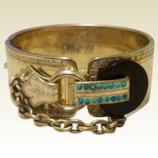 Vintage Gold Filled Black Onyx Faux Turquoise Buckle Hinged Bangle Bracelet