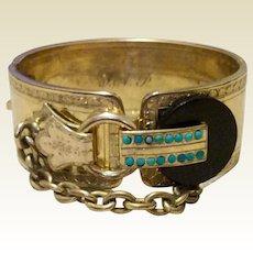 Vintage Gold Filled Black Onyx Faux Turquoise Buckle Hinged Bangle Bracelet