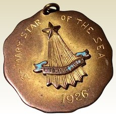 St. Mary Star Of The Sea 1926 Bronze Color Pendant Medal Award
