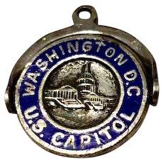 Vintage Sterling Silver Blue Enamel Washington D. C. Spinning Charm