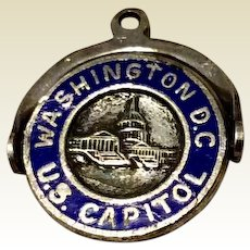 Vintage Sterling Silver Blue Enamel Washington D. C. Spinning Charm