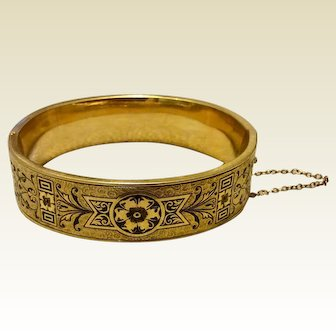 Vintage 14K Gold Filled Black Enamel Hinged Bangle Bracelet