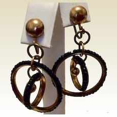 Vintage Gold Filled Genuine Bohemian Garnet Concentric Circle Dangle Earrings