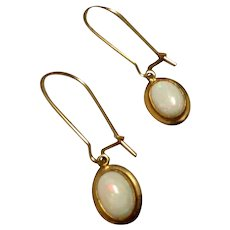 Vintage Gold Filled Genuine Opal Dangle Earrings