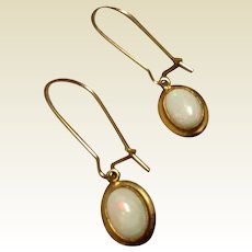 Vintage Gold Filled Genuine Opal Dangle Earrings