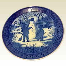Vintage 1985 Royal Copenhagen Christmas Plate The Snowman