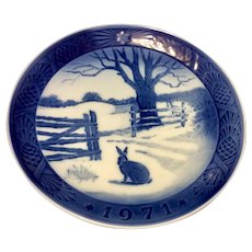 Vintage 1971 Royal Copenhagen Christmas Plate Hare In Winter