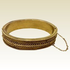 Rare Etruscan Revival 1880's Gold Filled Hinged Bangle Bracelet