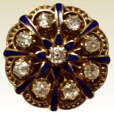 Vintage 14K Diamond  & Blue Enamel Halo Ring Size 6