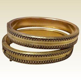 Rare Pair Etruscan Revival Gold Filled Wedding Or Brides Hinged Bangle Bracelets