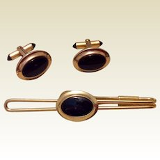 Vintage 12K Gold Filled Black Lucite Cufflinks & Tie Bar Set