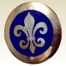 Vintage Fleur d Lis Button Cover