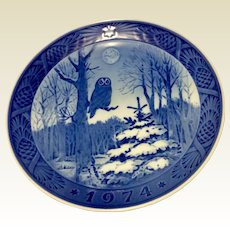 Vintage 1974  Copenhagen Christmas Plate Winter Twilight