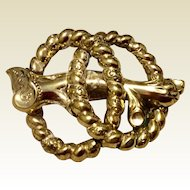Antique Victorian Large Gold Filled Love Knot Brooch