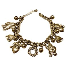 Vintage Silver Tone Metal Christmas Charm Bracelet