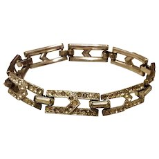Vintage Silver Tone Metal Clear Rhinestone Flexible Link Bracelet
