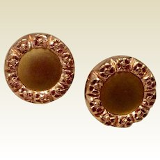 Victorian 1884 Rose Gold Filled Repousse Cufflinks