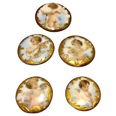 Victorian Hand Painted Porcelain Cherub Band Stud Buttons