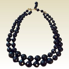Vintage Black Glass Faceted Bead  Double Strand Necklace
